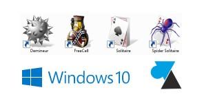 Demineur Spider Solitaire FreeCell jeux XP sur Windows 10