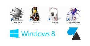 Demineur Spider Solitaire FreeCell jeux XP sur Windows 8 8.1