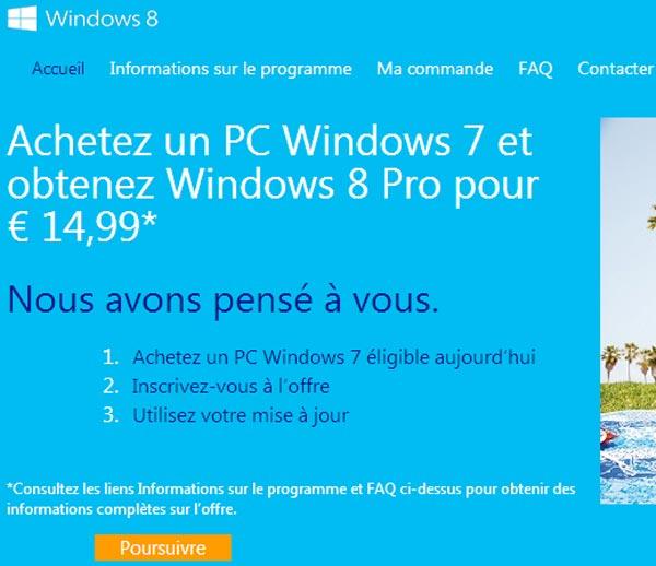 Guide pas à pas pour acheter la mise à jour Windows 8 à 15€