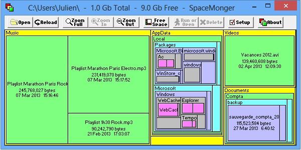 Afficher ce qui prend de la place sur le disque dur